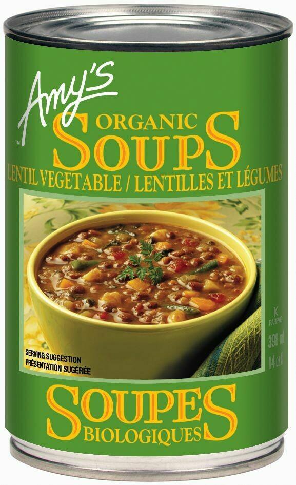 Amy's Kitchen - Soupe aux lentilles et legumes biologique faible en sodium 398ml