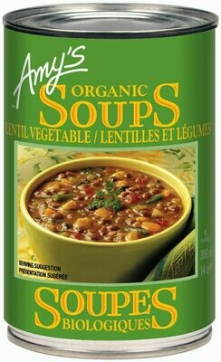 Amy's Kitchen - Soupe aux lentilles et legumes biologique faible en sodium 398ml