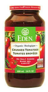 Eden Foods – Tomates broyees sans sel oignon ail basilic bio 680ml
