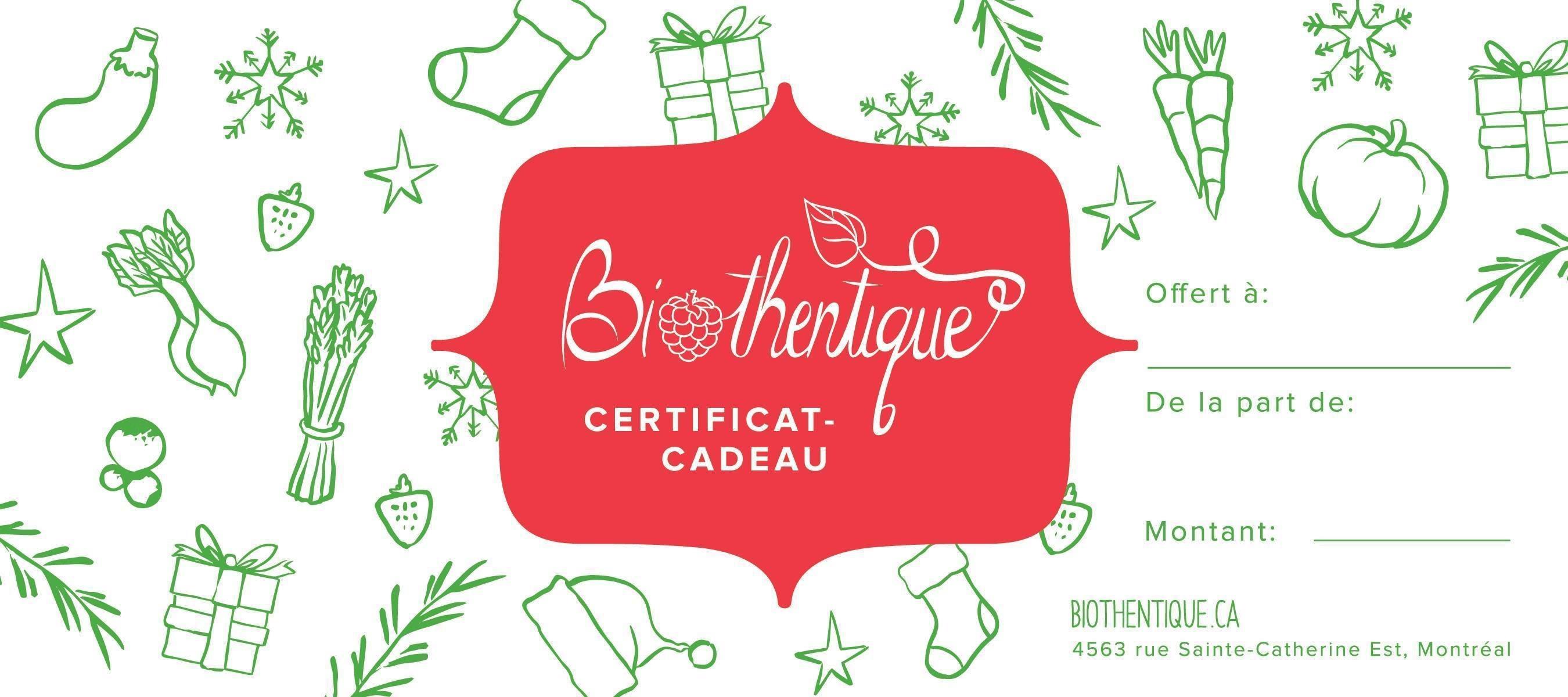 Biothentique - Certificat cadeau 23004