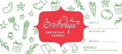 Biothentique - Certificat cadeau