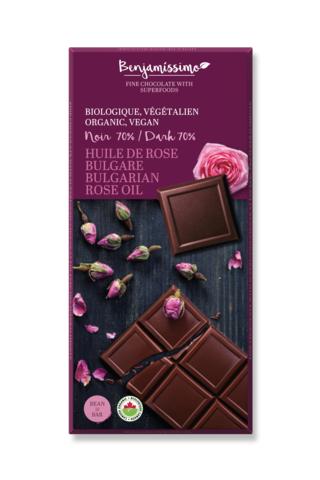 Benjamissimo - Chocolat noir 70% huile rose bulgare bio 70g TX6098