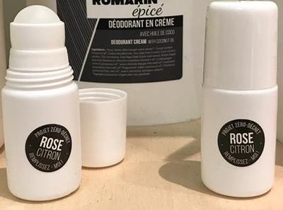 Rose Citron - Tube déodorant en vitre vide réutilisable