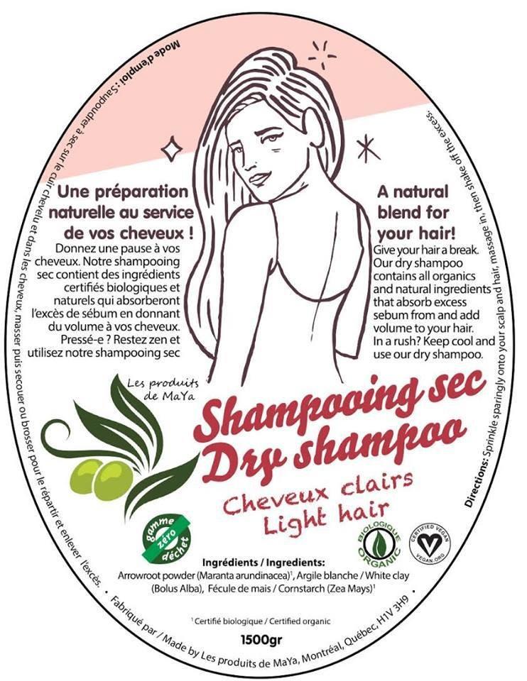 Les produits de MaYa - Shampooing sec pour cheveux clairs enveloppe compostable TX11125