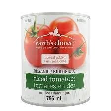 Earth's choice - Tomates en dés sans sel bio 796ml