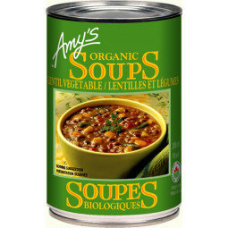 Amy's Kitchen - Soupe lentille aux légumes moins de sodium bio 398ml