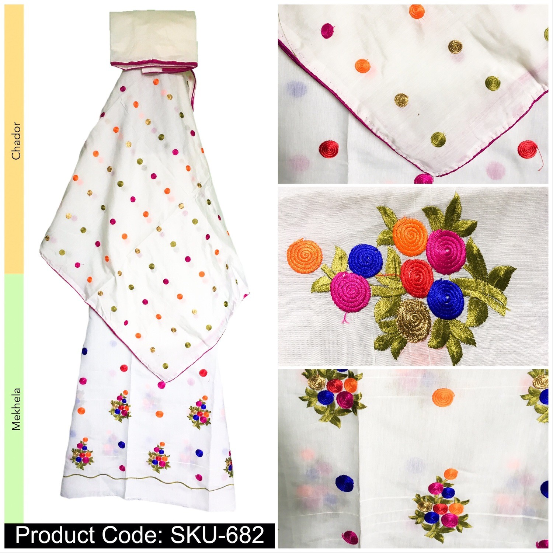 Malai Cotton Mekhela Sador