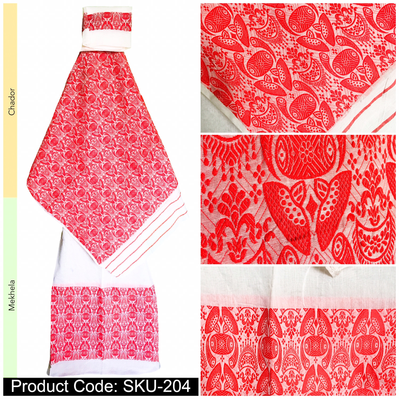 Mekhela Chador with Gamusa design -Red