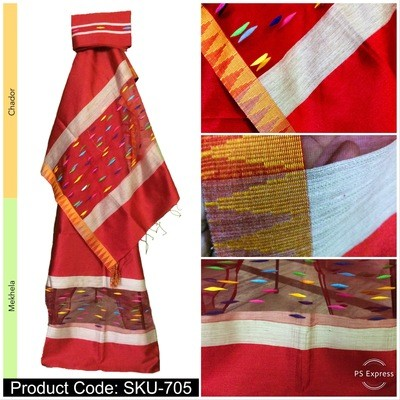 Temple Design Mekhela Sador in Art Ghisa Silk