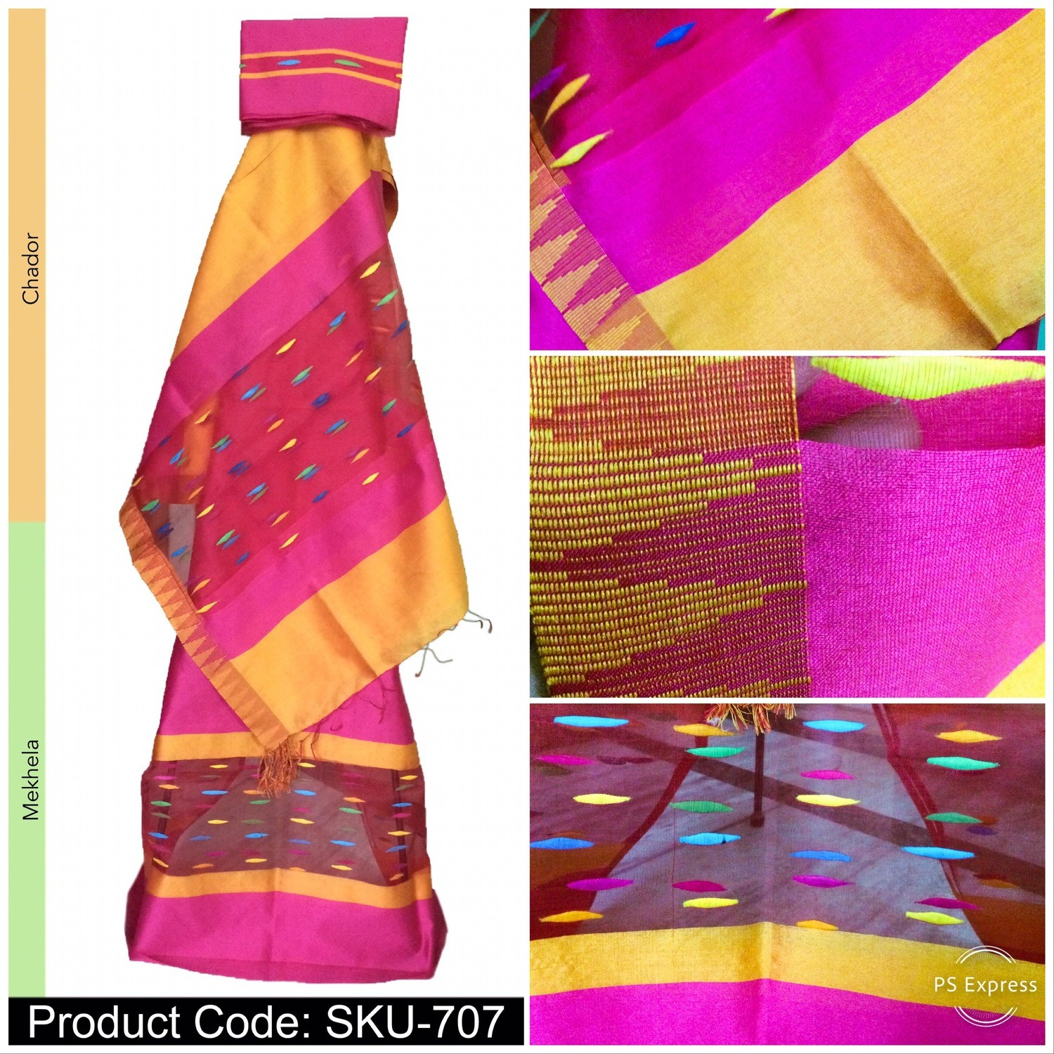 Temple Design Mekhela Sador in Art Ghisa Silk