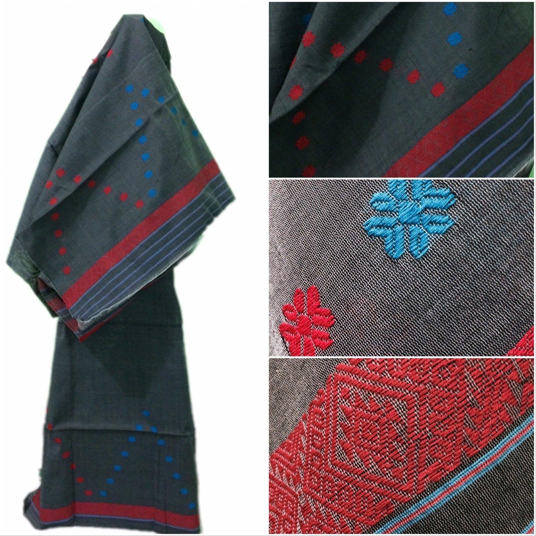Beautiful Buwa Mekhela Chador in deep gray colour with red & blue buti and pari