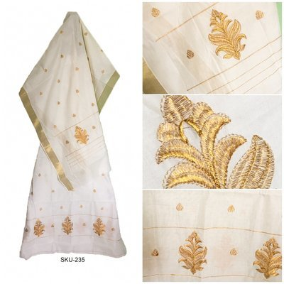 Cotton Mekhela Chador with Golden Zari work