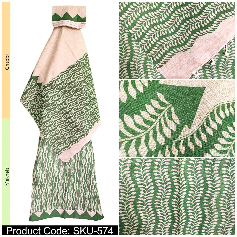 Khadi Cotton Mekhela Chador with Hand printed Design