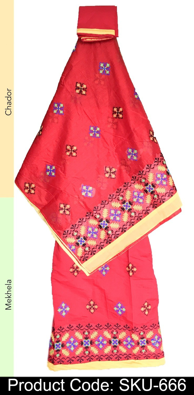 Mekhela chador with Kashmiri thread wotk