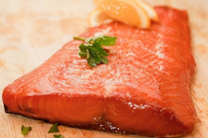 Green Tea Infused Salmon Fillet Baked in Real Wood sMoke