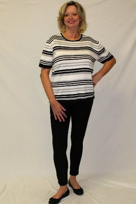 Black Striped Designer Short Sleeve Set