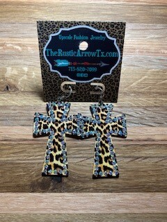 Lepard Cross Earrings