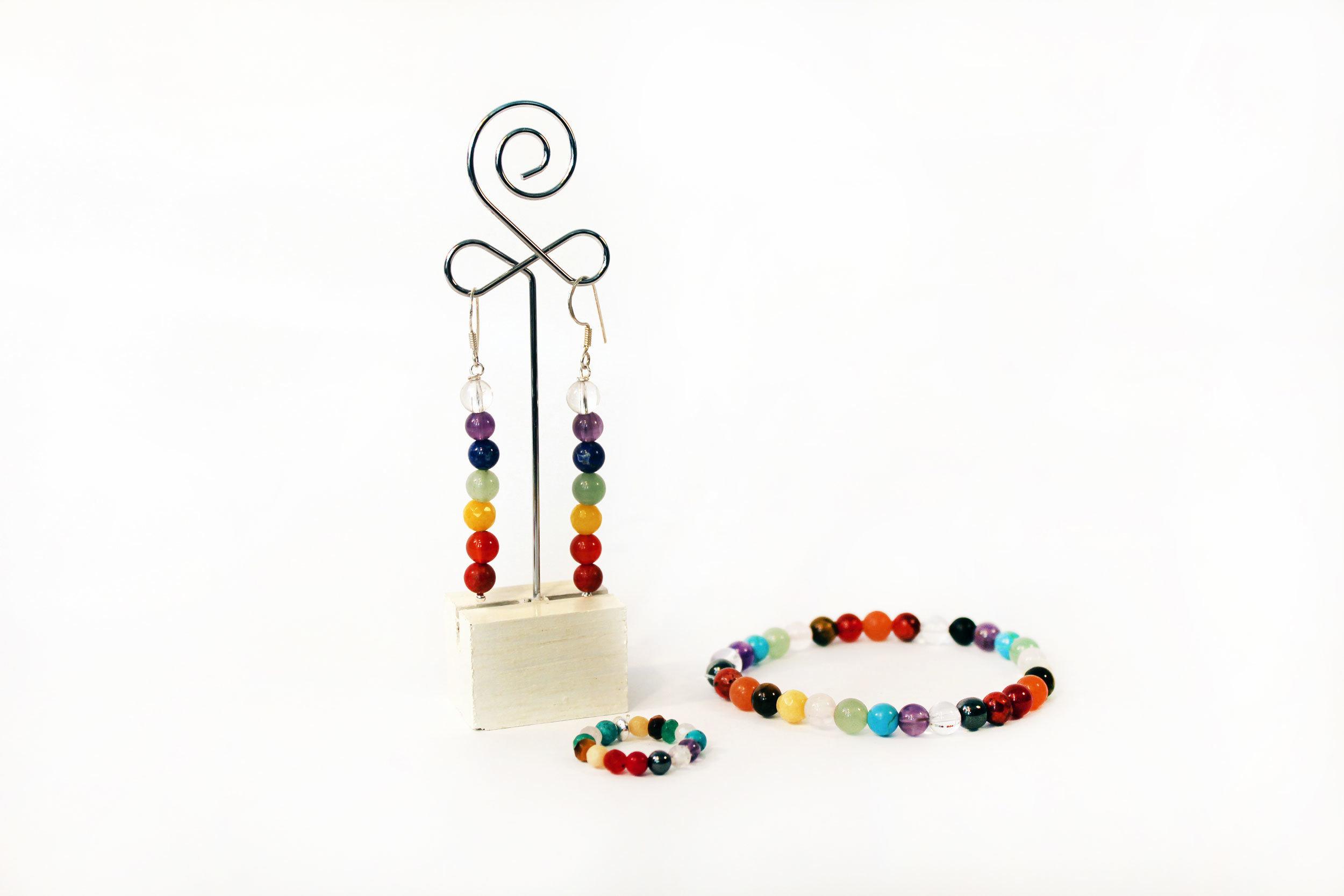Conjunto pulsera, anillo y pendientes Chakras 009
