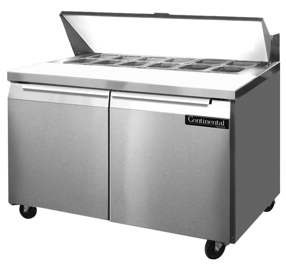 "Continental Refrigerator SW48-12, Standard Line 48"" Sandwich Refrigerator Unit"