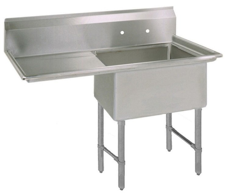"""One Compartment Sink 36-1/2"""" Wide with 18"""" Right Drain Board"""