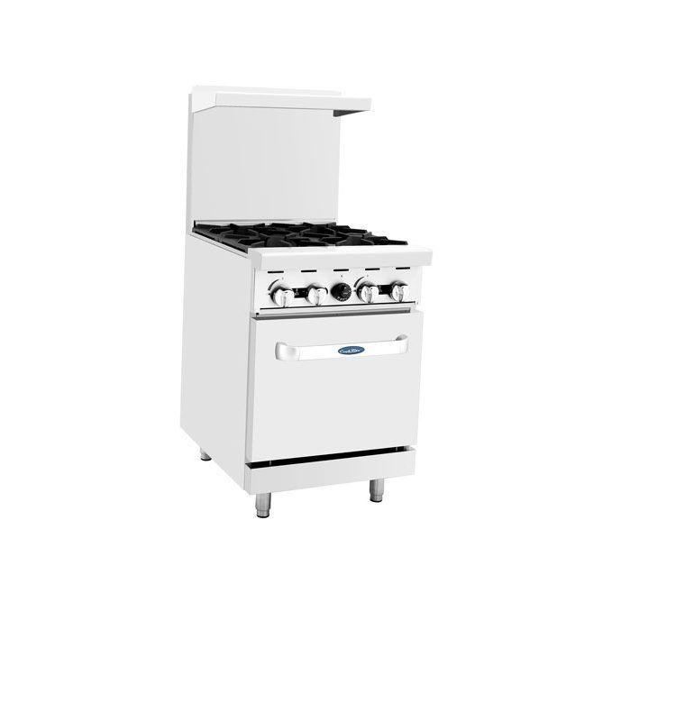 """Atosa 24"""" Gas Range, 4 Burner with 20"""" Wide Oven"""