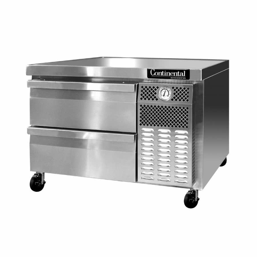 "Continental Griddle Stand Refrigerator 36"" Two Drawers Chef Base"