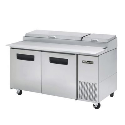 "2 Doors All Stainless Steel Pizza Prep.Table Blue Air Refrigerator 67""Wide."