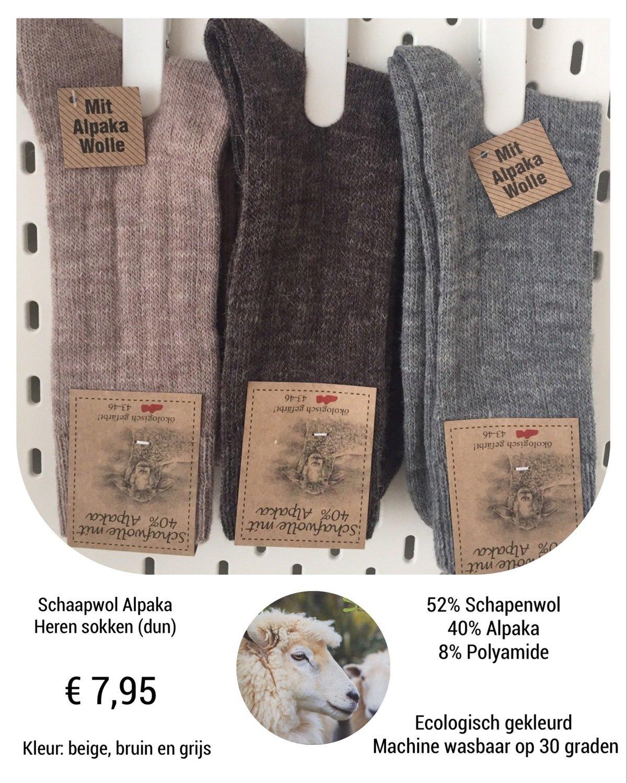 Schapenwollen sokken met Alpaka