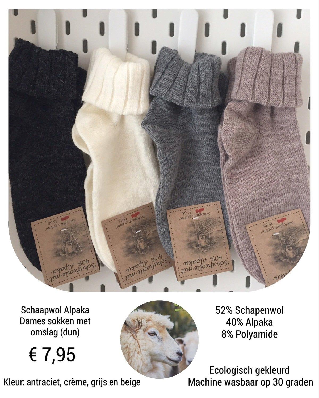 Schapenwollen sokken met Alpaka (dun)