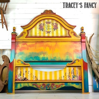 Yellow Boho Gypsy Queen Bed