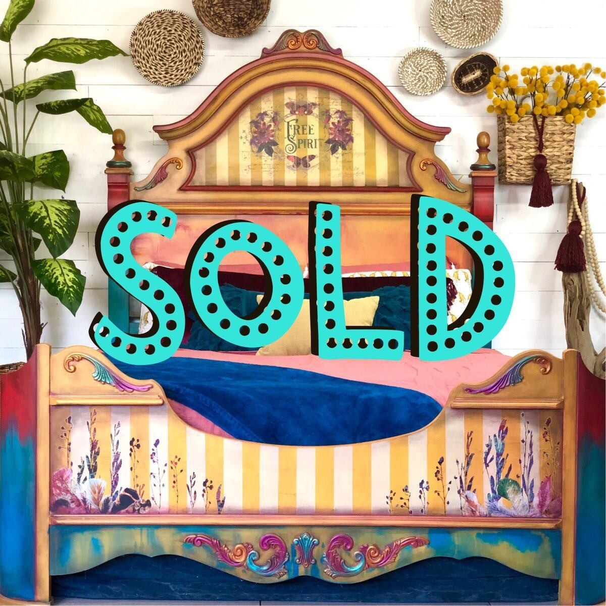 [SOLD] Yellow Boho Gypsy Queen Bed **free shipping**