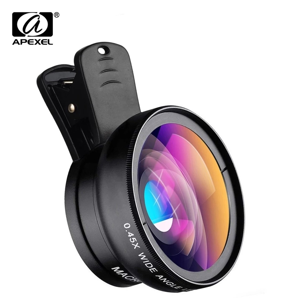 Apexel 2in1 0.45x Wide Angle + 12.5x Macro Phone Lens