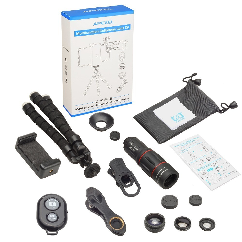 Apexel 18x Super Zoom + 3in1 Phone Lens + Flexible Tripod + Remote Shutter