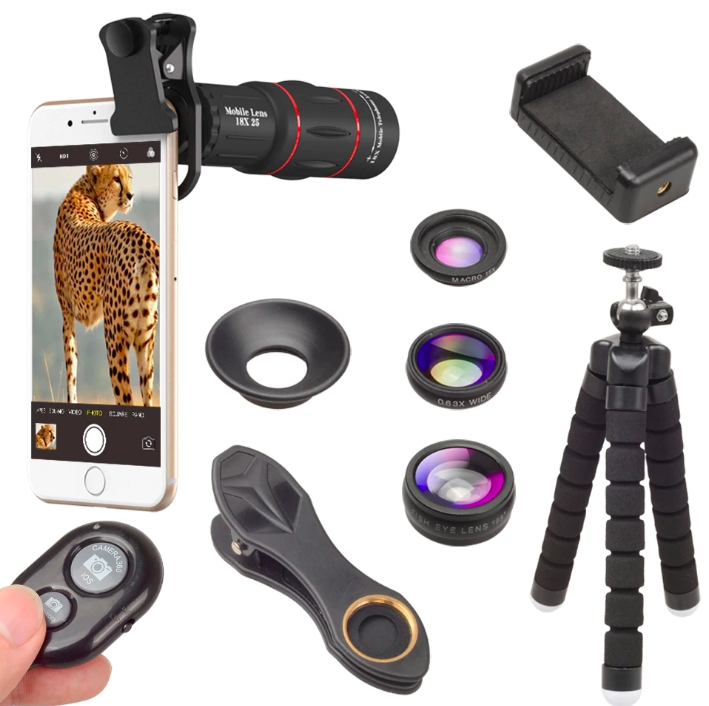 Apexel 18x Super Zoom + 3in1 Phone Lens + Flexible Tripod + Remote Shutter