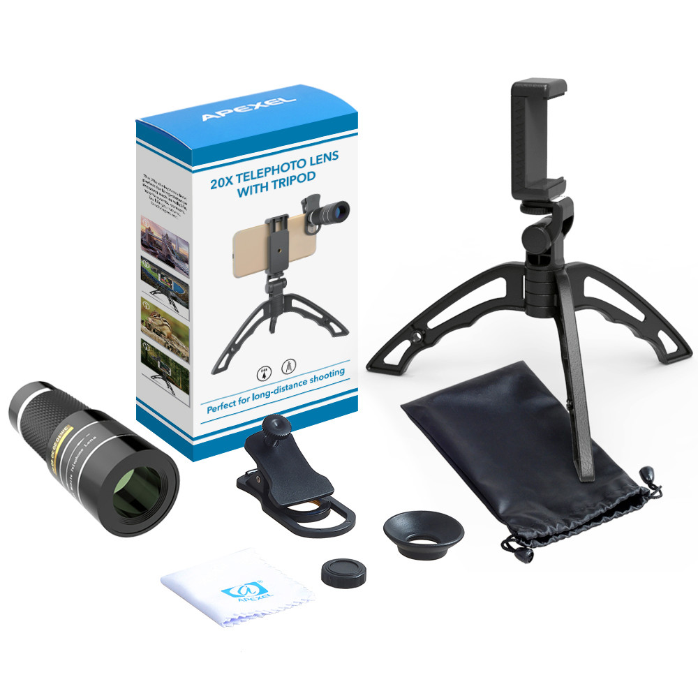 Apexel 20x Super Zoom Telephoto Telescopic Phone Lens + Tripod