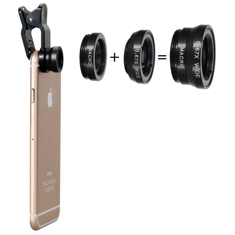 3 in 1 Phone Lens Combo (Macro, Wide, Fisheye)