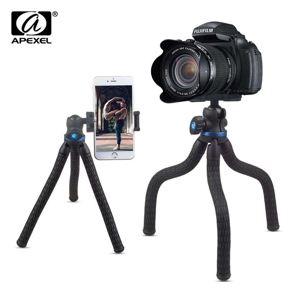 APEXEL 360 Rotation 2 in 1 Mini Table Flexible DSLR Tripod with Phone Mount Holder