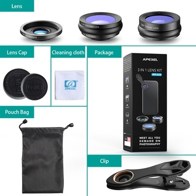 APEXEL 3-in-1 Wide, Macro, Fisheye Phone Camera Lens