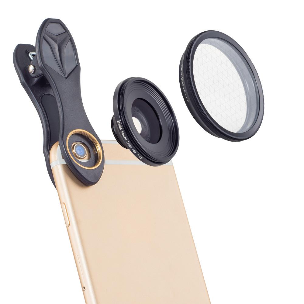 APEXEL 25mm 20x HD Super Macro Phone Lens + Star Filter