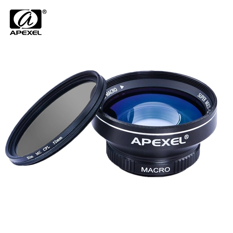 Apexel 2in1 0.63x Wide Angle + 12.5x Macro Phone Lens