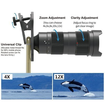 Apexel Variable Magnification (4x-12x) Zoom Phone Lens [NEW 2018]