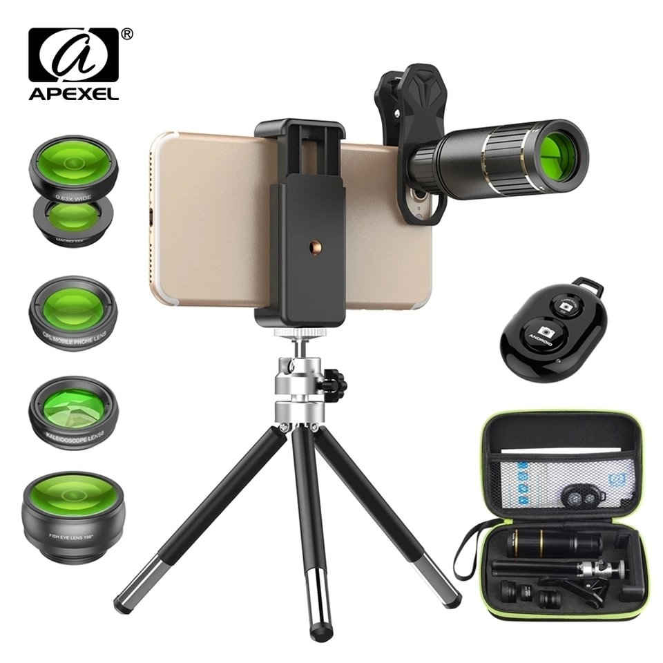 Apexel 16x Zoom + 5 in 1 phone lens Combo Pack [New 2018]