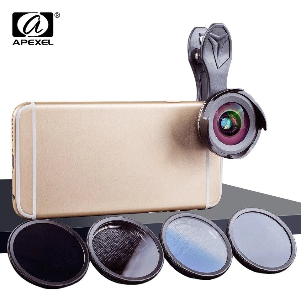 Apexel 16mm Super Wide angle + 10x Macro Phone Lens + ND, CPL, GRAD Filters