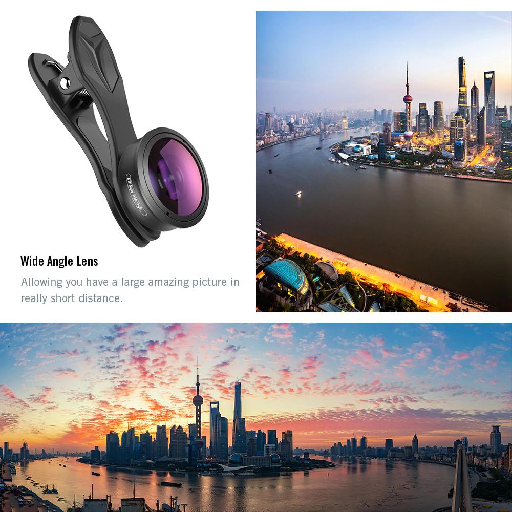 Apexel 170 Degree HD Professional Super Wide Angle/ Fisheye Phone Lens (No Black Border) [NEW 2019]