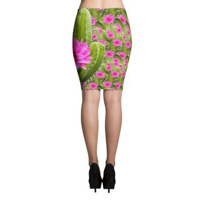 Flowering Cactus Pencil Skirt
