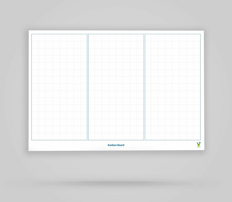 Kanban Board Template 3 Spalten unbeschriftet - Whiteboard Poster