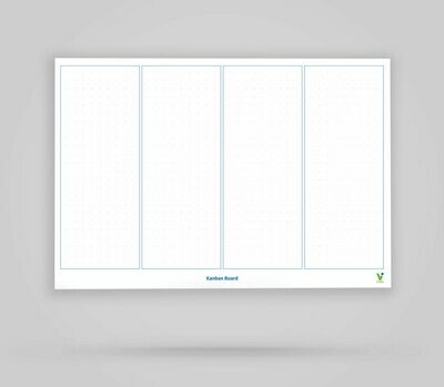 Kanban Board Template 4 Columns Blank - Whiteboard Poster