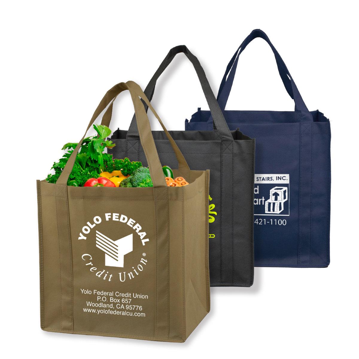 "12-1/2"" W x 13"" H - Mega Grocery Shopping Tote Bag. $1.65 each."