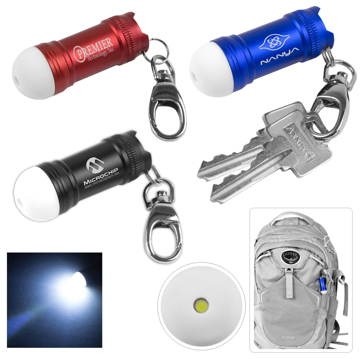 Mini Glowing Bubble Tip LED Aluminum Keychain Keylight with Lobster Clip. $2.30 each.