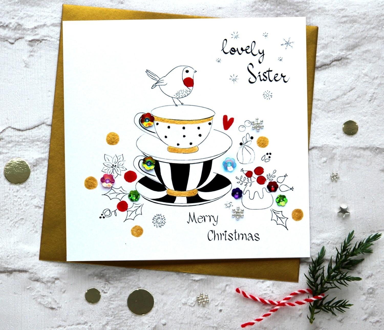 Merry Christmas Sister.Merry Christmas Sister Tea Cups Handmade Greeting Card